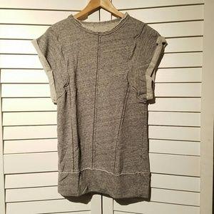 ZARA Distressed Short Sleeve Gray Sweatshirt